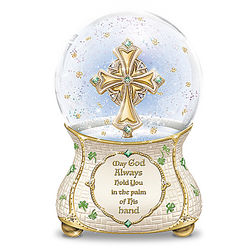 Irish Blessings Musical Glitter Globe with Celtic Cross