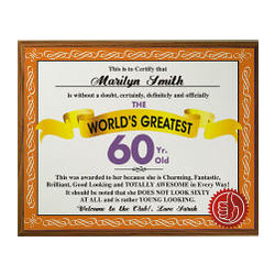 Personalized World's Greatest 60th Birthday Plaque
