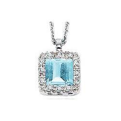 14K Diamond Aquamarine Vintage Style Princess Pendant Necklace