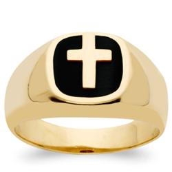 Men's 14K Gold Over Sterling Black Onyx Cross Ring