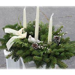 Fresh Maine Balsam 3 Candle Winter White Centerpiece