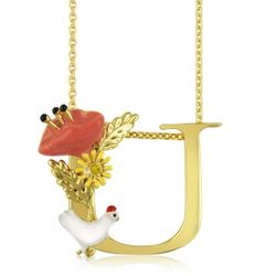 Alphabet Fleuri U Charm Necklace