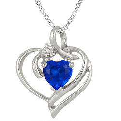 Created Heart Shape Sapphire and Diamond Pendant