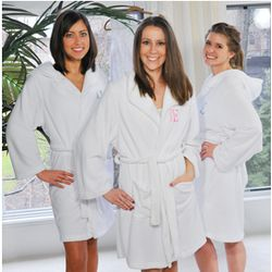 Plush Hooded Embroidered Spa Robe