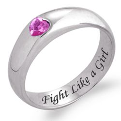 Sterling Silver Fight Like a Girl Pink Cubic Zirconia Ring