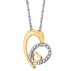 Sterling Silver Two-Tone Diamond Accent Heart Pendant