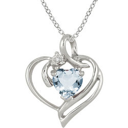 1-Carat Heart Aquamarine and Diamond Sterling Silver Necklace