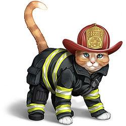 Firefighter Chief Cat Figurine in Firefighter Gear