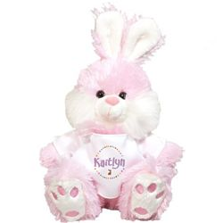 Pink Easter Bunny Stuffed Animal with Personalized T-Shirt