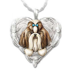 Shih Tzus are Angels Heart-Shaped Engraved Pendant