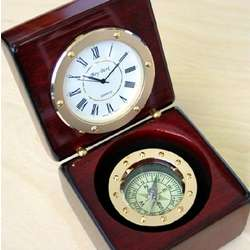 Rose Wood Compass and Clock