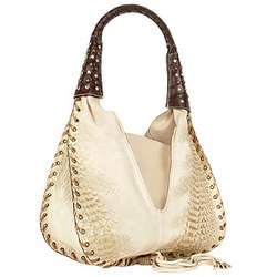 Jeweled Beige Suede and Reptile Leather Hobo Bag