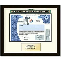 Framed Domino's Pizza Certificate