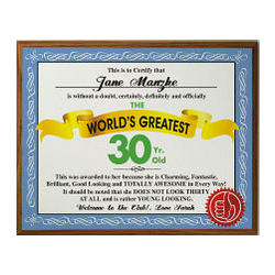 Personalized World's Greatest 30th Birthday Plaque