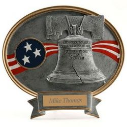 Personalized Liberty Bell Resin Oval Plaque