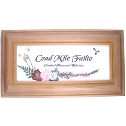 Cead Mile Failte Framed Print with Pressed Flowers