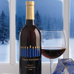 Personalized Hanukkah Wine Bottle with Menorah