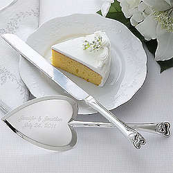 Personalized Heart Wedding Cake Knife and Server Set