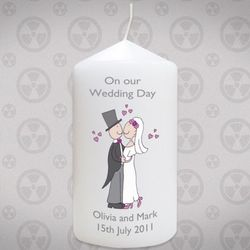 Personalized Cartoon Bride and Groom Candle