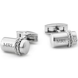 Stainless and Sterling Silver Rope Cufflinks
