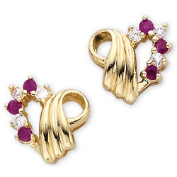 Ruby Goldtone Heart Earrings