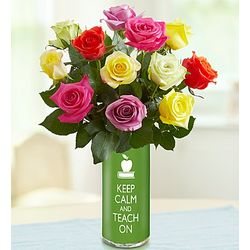 Keep Calm and Teach On Vase with Bouquet