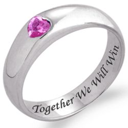 Together We Will Win Pink Heart Sterling Silver Ring
