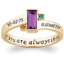 Daughter's Always in our Hearts Gold-Plated Birthstone Ring