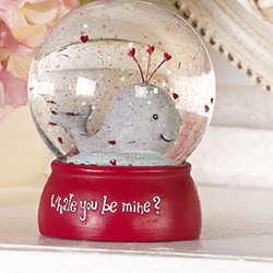 Whale You Be Mine Valentine Water Globe