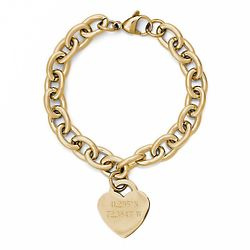 Personalized GPS Coordinates Gold Heart Tag Bracelet