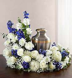 Large Cremation Wreath in Blue and White