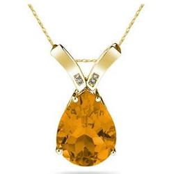 Pear Shaped Citrine & Diamond Pendant in 10K Yellow Gold