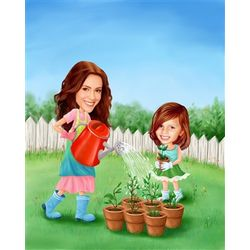 Gardening Together Caricature Print from Photos