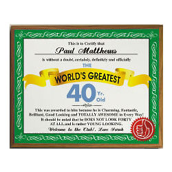 World's Greatest 40th Birthday Personalized Plaque