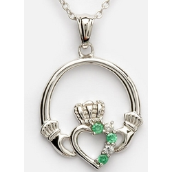 Green Crystals and Cubic Zirconia Claddagh Pendant