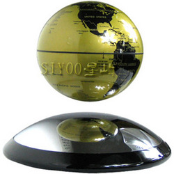 Magnetically Levitating Gold Terrestrial Globe