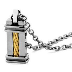 Titanium & 14K Gold Cable Necklace