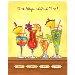Cool Tropical Drinks Personalized Print