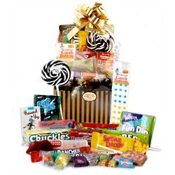 Black and Gold Pin Stripe Retro Candy Basket