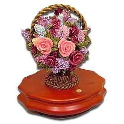 In Full Bloom Flower Basket Musical Figurine