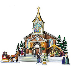 Thomas Kinkade Midnight Vespers Sculpture Set