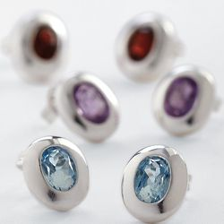 Sterling Silver Oval Birthstone Stud Earrings