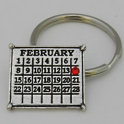 Classic Calendar Key Ring with Birthstone