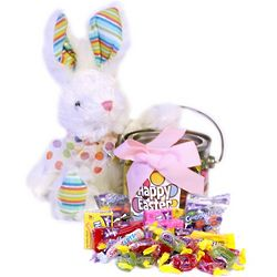Colorful Plush Easter Bunny with Candy Filled Pail