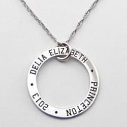 Personalized Engraved Disc Graduate Necklace