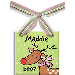 Personalized Reindeer Ceramic Tile Ornament