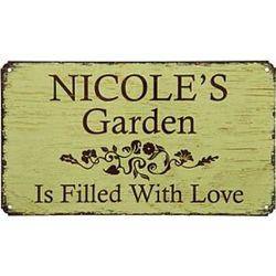 Green Metal Personalized Garden Sign