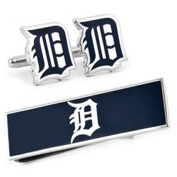 Detroit Tigers Cuff Links and Money Clip Gift Set