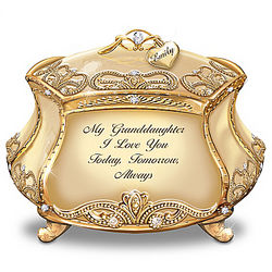 Granddaughter, I Love You Music Box in 22K Gold-Plated Porcelain