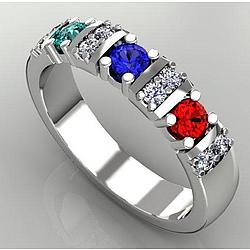 Custom 3 Birthstone Mother's Ring with Fine Diamonds